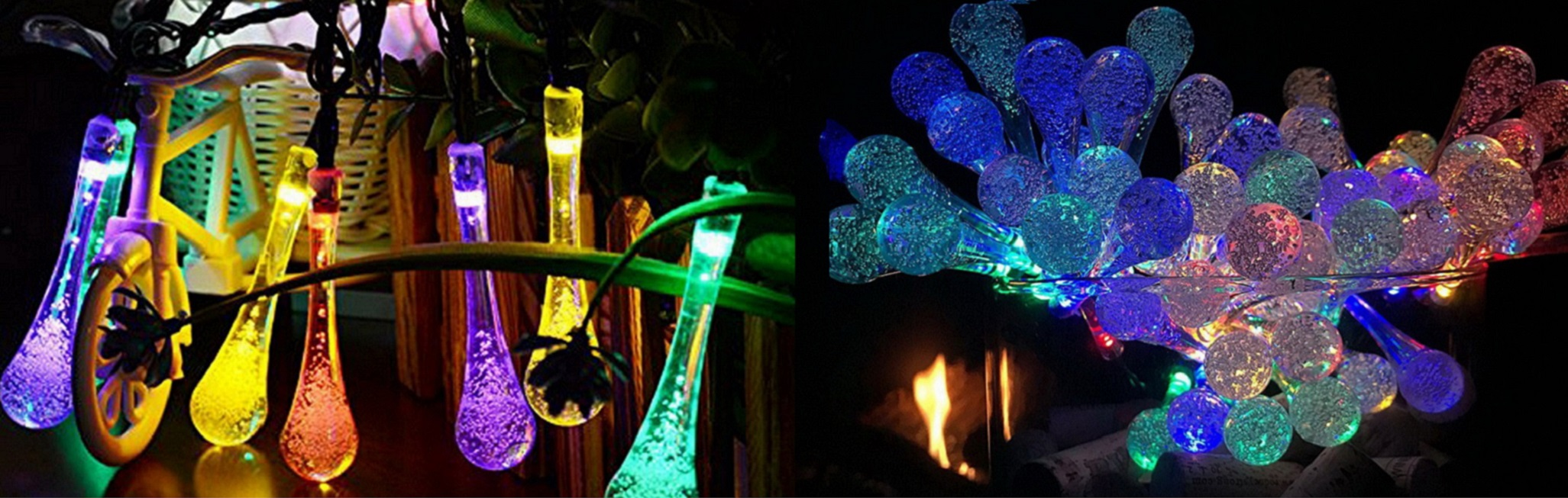 LED Outdoor Water Drop Solar String Lights